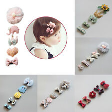 5Pcs For Kids Baby Girl Assorted Hair Clips Bowknot Heart Crown Headwear Hairpin