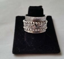 .925 STERLING SILVER CIGAR BAND WHITE CRYSTAL TRIBAL SPINNER RING 68 SIZE 9