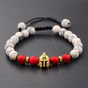 Charm Men Gold Spartan Helmet White Stone Natural Red Agate Macrame Bracelets