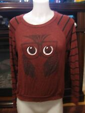 RANSOM, JUNIOR'S Burgundy/Black Rayon Bl Long Sleeved Sweater W/Owl, Size L