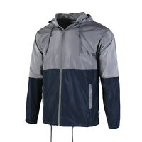 Men's Color Blocked Lightweight Windbreaker With Hood Full zip Jacket S M L XL