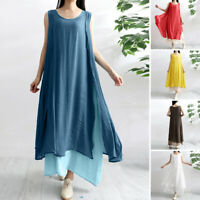 Mode  Femme Plage Bohémienne Oversize Sans Manche Dress Maxi Long Robe Loisir