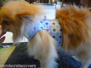 Lite Blue w Paws Dog Harness & Leash Fabric Handmade Carol's Crate Covers