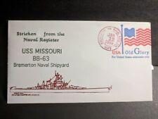 USS MISSOURI BB-63 Naval Cover 1995 STRICKEN Cachet BATTLESHIP