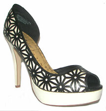 ANNE MICHELLE Black/White High Heels Open Toe Shoes 7.5