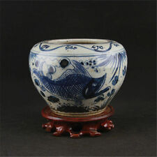 China antique Porcelain Blue & white fish grass Cylinder Hand painting Pots