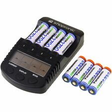 shopronic Ladegerät für NiMH/NiCd AA-AAA Akkus inkl.8x AA 2700mAh Panasonic Akku