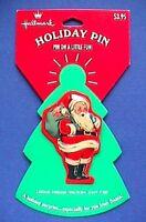 Hallmark PIN Christmas Vintage SANTA TOY Sack TIN Holiday Brooch NEW