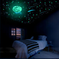 230PCS Glow In The Dark Stars Removable Kids Bedroom Wall Stickers Moon Decals