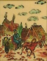 Sarinson Art Oil Etching On Acrylic Man Carriage Horse  Signed