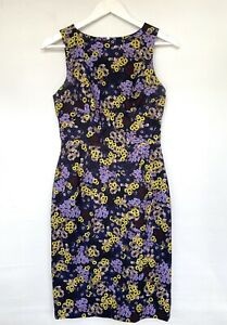 ERDEM Black Floral Tailored Pencil Shift  Sleeveless Sheath Dress UK10 £1000+