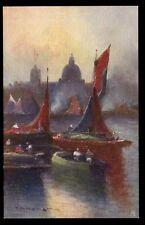 Thames Barges artist drawn Prof Van Hier Tuck 2575 Vintage PPC