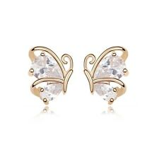 18K Gold Plated Made With Swarovski Crystal Fluttering Butterflies Stud Earrings