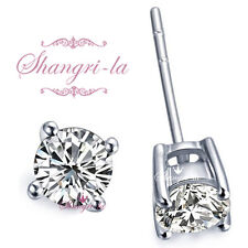 9K WHITE GOLD GF 6mm Made with  SWAROVSKI DIAMOND Stud EARRINGS 1.0CARAT SEA118