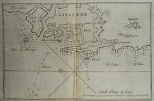 1764-PORTO DI LIVORNO-LIVOURNE-FARI-RARA CARTA-Joseph ROUX