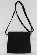 Bruno Magli Black Suede Frame Convertible Clutch Shoulder Bag