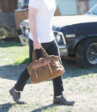 NEW FREE PEOPLE X BED STU TAN CANVAS TOWNSEND MESSENGER BAG LEATHER HIGHLIGHTS