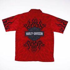 Vintage OFFICIAL HARLEY DAVIDSON Red Flames Shirt Size Mens Medium