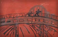 "KEVIN CONNOR AUSTRALIAN LARGE SCREENPRINT ""FIGURES THE EXPRESSWAY BRIDGE"" 1988"