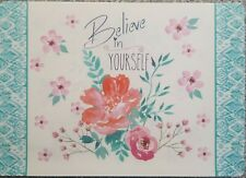 "Believe In Yourself Inspirational Placemats 17"" x 11"" plastic set of 6"