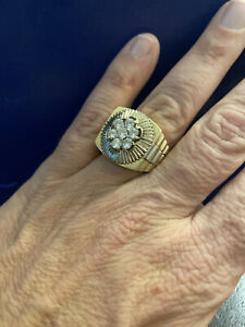 White And Yellow Gold Men's 1.3 Carat  Diamond Ring Watch Brand Inspired  Size 1