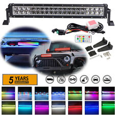 22 inch Offroad Led Work Light Bar w/ Chasing RGB Halo Color Change Flash Remote