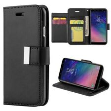 Samsung Galaxy A6 Plus Design Wallet FOLIO w/ Extra Pocket Case - BLACK