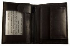 Men's European Cowhide Leather Trifold Hipster Wallet 3 ID,Snap Change Pocket BK
