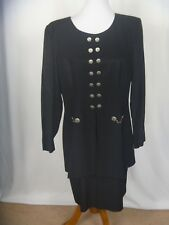 Dani Max Women's Black Button Front Dress Size 14 with attached skirt