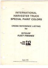 International Truck Fleet Colors Paint Cross Reference August 1976 Ditzler Re 2