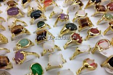 Hot 5Ps Mixed Lots Gold Plated Natural gemstone wedding Rings Wholesale