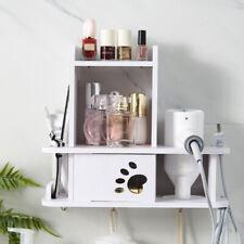Punch-Free Hair Dryer Rack Holder Bathroom Storage Shelves Wall Mount Hanger