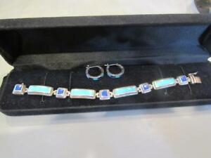 Sterling Silver Turquoise & Lapis Bracelet & Earring set - 925 LT Thailand