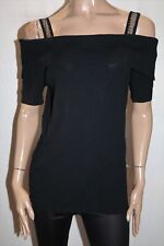 AUTOGRAPH Brand Black Diamonte Knit Cold Shoulder Top Size S BNWT #TD79