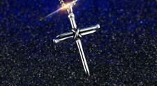 "NAILS CROSS CRUCIFIX JESUS 925 Sterling Silver ROPE 22"" Chain Necklace men women"