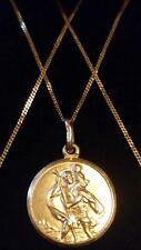 "Beautiful 9ct 375 Yellow Solid Gold Round ST CHRISTOPHER Pendant & 16"" Chain***"