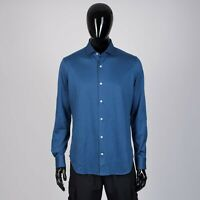 LORO PIANA 575$ Alvin Blue Shirt In Ultra-Fine Dyed Cotton Jersey
