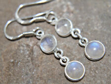 Rainbow Moonstone Earrings 925 Sterling Silver double round drop June Birth DRM1