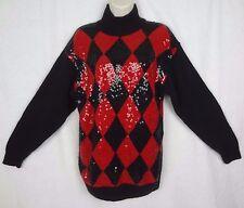 Vtg IB Diffusion Silk Angora Lambswool Sweater ~Black & Red Argyle Glitter~ 1990