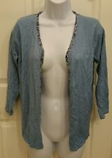 Jaclyn Smith Blue with Purple, multicolor Trim Open Front Cardigan Sweater Small