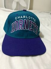 STARTER Vintage Retro Charlotte Hornets fitted cap Hat sz 7 3/8 teal purple