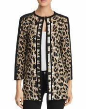 Misook CBY Black Animal Leopard Print Knit Jacket XL