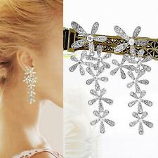 Long Crystal Drop Earrings Diamante Bridal Chandelier Rhinestone Silver Dangle