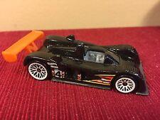 2000 Mattel Hot Wheels Cadillac LMP White Lace Wheels Orange Spoiler Black Paint