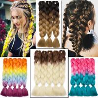 Jumbo Braids Kanekalon Ombre Box Crochet Braid Synthetic Hair Extensions Afro J9