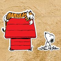 Hobbes Sleeping on Snoopys Dog House Peanut Calvin Car Window Wall Decal Sticker