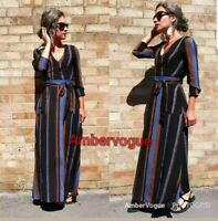 Zara Black Long Maxi Flowing Printed Dress Belted Brown Blue Stripes Size Xs 6