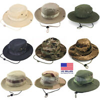Boonie Bucket Hats Outdoor Fishing Hunting Wide Brim Mesh Camo Safari Sun Cap