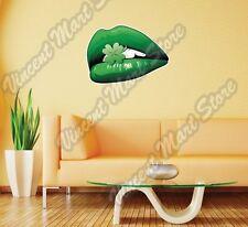 "Leprechaun Lips Irish Ireland Shamrock  Wall Sticker Room Interior Decor 25""X20"""