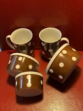 Fitz And Floyd Ff Custard Cups Dishes Set Of 3 And 2 Coffee Mugs Brown/ PolkaDot